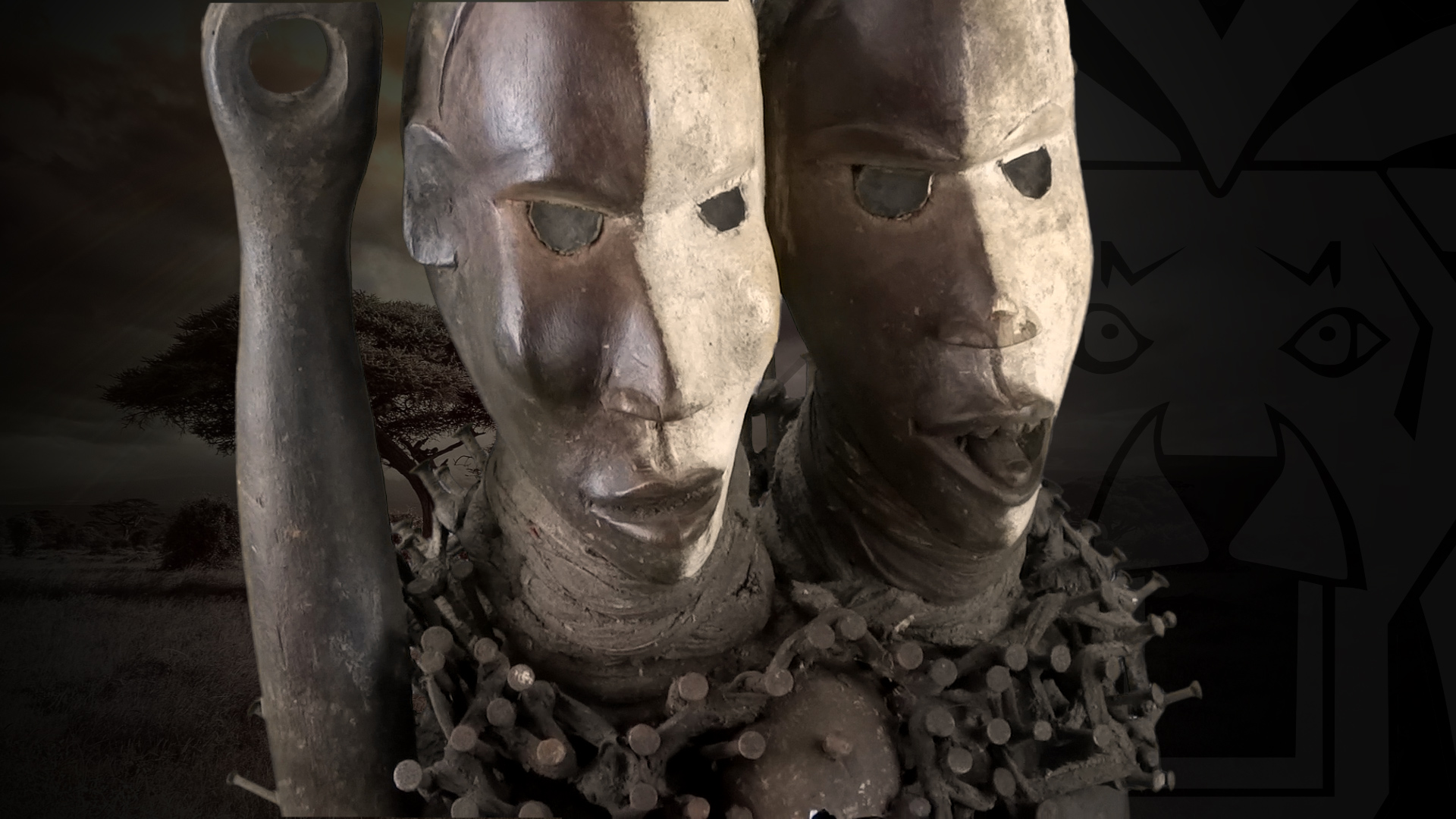 doppelkopf schutzfigur der bakongo dr kongo congo afrika 70cm. Black Bedroom Furniture Sets. Home Design Ideas
